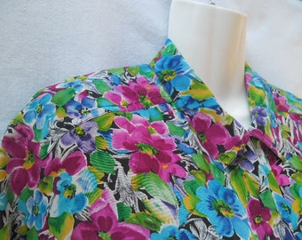 Vintage Argenti Silk Blouse,Colorful Flower Print Blouse,Short Sleeves Buttons Front Silk Summer Blouse,Garden Party Colorful Floral Blouse