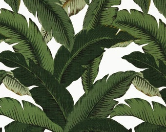 SHIPS SAME DAY Tommy Bahama Swaying Palms Aloe Indoor / Outdoor Fabric, Banana Leaves Fabric, Dark Green  Leaves Fabric  - by the 1/2 yard
