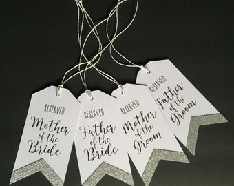 Silver Wedding Ceremony Reservation Seat Signs, Glitter Reserved Tags