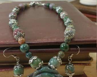 Fancy Jasper Jewelry Set, Necklace, Earrings, Free Shipping