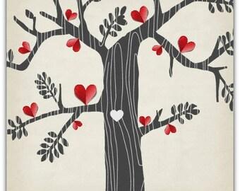 The tree of hearts original greeting card Digital 15cm x 15cm