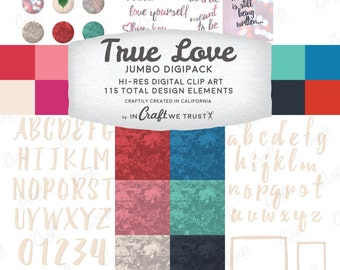 True Love Digital Clip Art Digipack Bundle • 115 Total Images • JPG & PNG • Commercial Use Instant Download Design Files