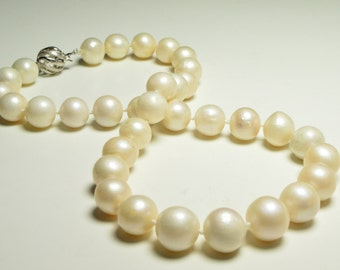Valentine's Day Special- Large White Pearl Neckalce-18.5 inches 12-13.5mm White Freshwater Pearl Necklace- Sterling silver clasp