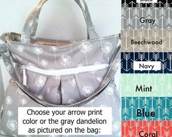 Arrow Diaper Bag,  You pick color, Tote Bag, cross body bag,  cloth diaper bag, nappy bag,