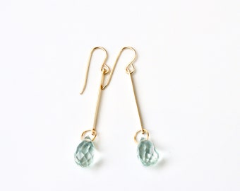 Aquamarine Earrings Bar Earring Gold Earrings Aquamarine Earrings Gold Filled Earrings March Birthstone March Brides