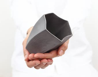 Handmade Ceramic Mug.Porcelain Simple Tumbler.Gray & Silver.Geometric Contemporary Vase.Minimalist Mug Design by CONCEPTstudio.READY TO SHIP