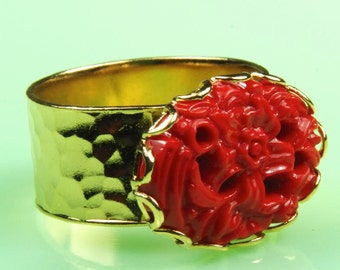 Adjustable Size Gold Ring with Vintage 1950s Red Floral Piece