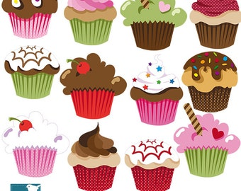 Cute Cupcakes Clipart / Cupcake Clip Art - Scrapbook, card design, invitations, stickers, paper crafts, web design - INSTANT DOWNLOAD