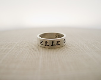 ELLE EST FORTE, She is Strong, Proverbs 31, Hand Stamped Silver Ring, Christian Jewelry, Christian Gifts,  Bible Verse Ring