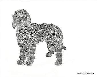 Goldendoodle Poodle Dog instant download adult coloring digital print abstract art zentangle inspired