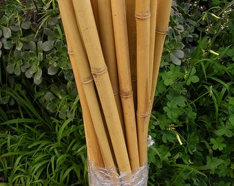 "Natural Bamboo Poles Garden Stakes  25 Pieces Craft Art 1"" x 2 ft Wood Dowel Decor"