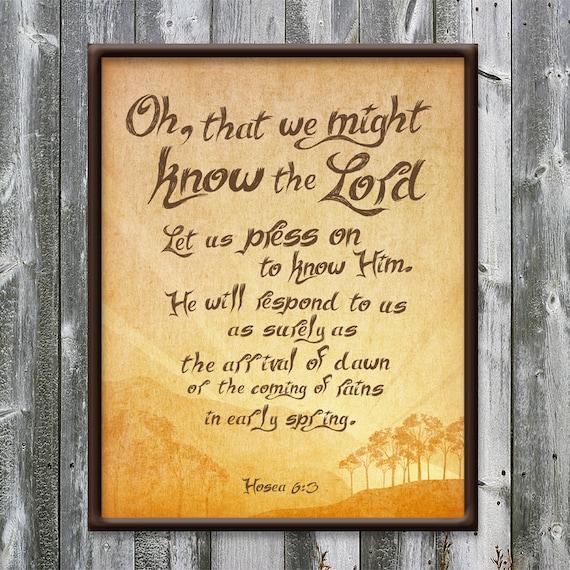 Hosea 6:3 Know the Lord Sunrise Press on Wall art
