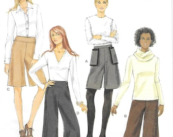 Waist 25 to 32 UNCUT-Butterick 5681 Fast and Easy Culottes in Two Lengths Sewing Pattern Yoke Pants