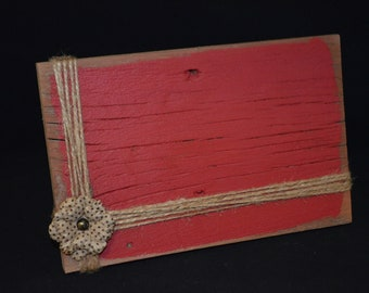 5x8 Rustic Wood Frame, Distressed photo holder with jute twine, Rustic Red Picture frame, Ready to ship, 11.00