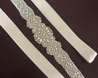 Crystal and rhinestones  wedding belt on off white color double sided ribbon style E645