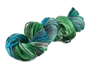Worsted Yarn, Superwash Merino yarn, worsted weight yarn, worsted wool yarn, 100% Superwash Merino, speckled, blue, green - Bayou