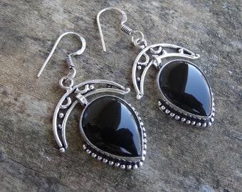 Natural Sterling Silver Black Onyx Earrings - Natural Black Onyx Stone - Handmade Moon earrings Boho Chic Earrings - Black Onyx Earrings