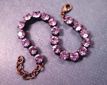 Rhinestone Bracelet, Lavender Glass Rhinestone and Copper Beaded Bracelet, FREE Shipping U.S.