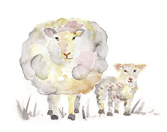 gray nursery print, Sheep Nursery art, Sheep Print, Nursery Decor, sheep painting, gender neutral nursery art, Baby boy, baby girl nursery