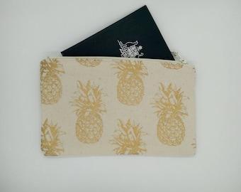 Tropical gold pineapple print clutch, purse