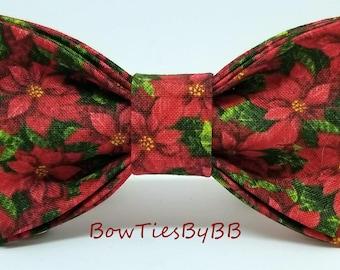 Poinsettia Christmas Flower Bow Tie