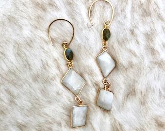 Moonstone and Labradorite Drop Earrings