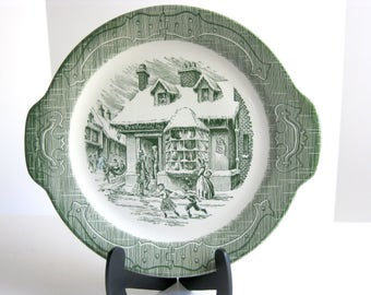 Vintage Royal USA The Old Curiosity Shop porcelain handled cake plate in green collectible, replacements
