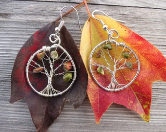 Unakite epidot tree of life silver green red wirewrapped earrings