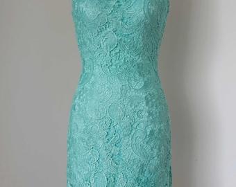 2015 Sheath Turquoise Blue Lace Short Bridesmaid Dress