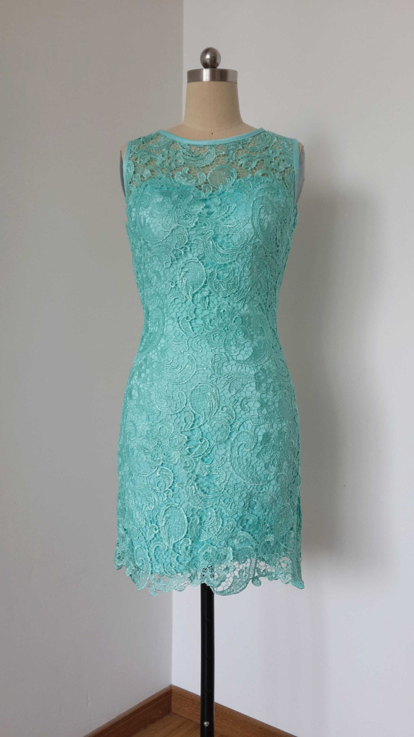 2015 sheath turquoise blue lace short bridesmaid dress zoom ombrellifo Image collections