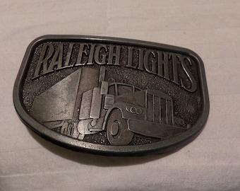 Vintage Raleigh Lights Semi Truck Brass Belt Buckle, Brass Belt Buckle, Raleigh belt buckle, gift for him, Morethebuckles
