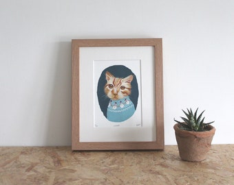Ginger Cat mounted fine art print