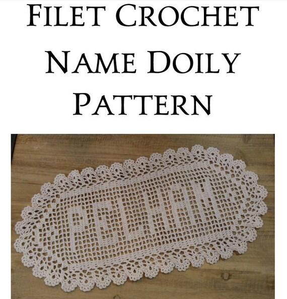 Instant Download Name Doily Filet Crochet Pattern Letters