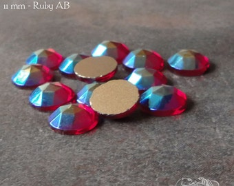 Vintage Cabochons  - 11 mm Ruby AB Aurora Borealis - 6 West German Faceted Glass Stones