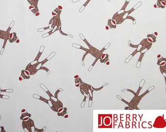 Sock Monkeys on Cream Fabric