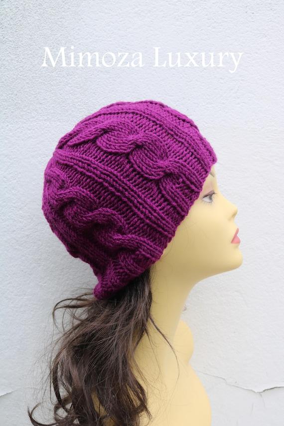 Violet women's Beanie hat, Hand Knitted Hat in violet beanie hat cap, knitted men's, women's beanie hat, winter beanie, purple ski hat