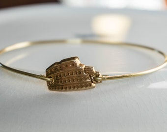 Coliseum Bangle/Italy Bracelet/Gold Fill/Brass Gold Coliseum Jewelry/Travel Jewelry/Rome Bangle Bracelet/Adventure Bracelet