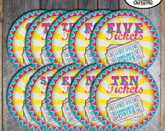 Carnival Ticket Signs | Circus Ticket Signs | Carnival Sign | Circus Sign |  Carnival Decorations | Pink Blue Yellow Girl | Printable