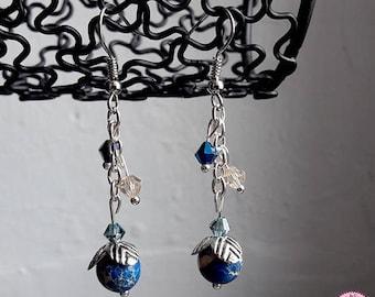 Earrings blue Jasper and Swarovski crystals