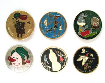 Cartoon characters, Children's badges, Pick from Set, Animal, Buratino, Vintage collectible badge, Soviet Pin, Soviet Union, Made in USSR
