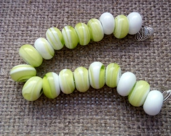 19 pcs Lampwork Bead spacers set Green White - Glass Lampwork Beads Set