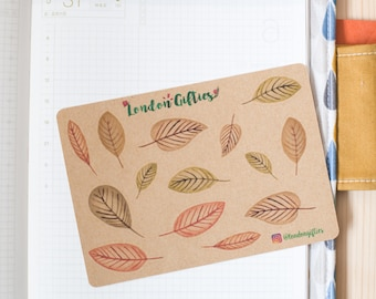 Autumn leaves - decorative vintage look kraft watercolour planner stickers suitable for any planner -471-