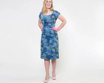 50s Blue Silk Chiffon Flowered Sheath Dress with Sequin Under Layer - Marjorie Michael S
