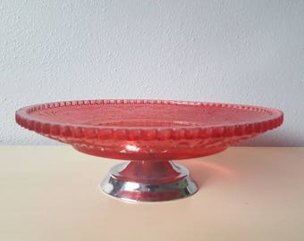 Vintage Red Flashed smaller cake plate bo ho wedding