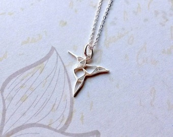 Origami necklace etsy sterling silver hummingbird necklace aloadofball Images