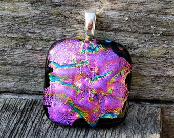 Pink Flambe Dichroic Fused Glass Pendant Handmade Jewelry
