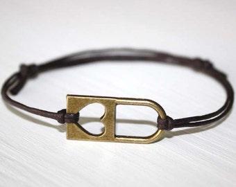 Heart Lock Bracelet or Anklet, Heart Bracelet, Antique Brass Bracelet, Bronze Jewelry, BFF Gift, Best Friend Gift, Couples Jewelry
