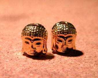 2 beads Buddha head, gold tone Tibetan style - 11 x 9 mm - PF55