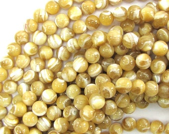 """7mm natural mother of pearl mop round beads 15.5"""" strand 30125"""