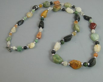 Womens long necklace, womens gemstone necklace, Agate and Sterling Silver Necklace, womens jewelry fashions, colorful flapper necklace